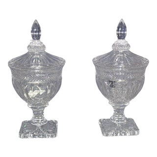 1950s Hollywood Regency Irish Crystal Candy Dishes - a Pair For Sale