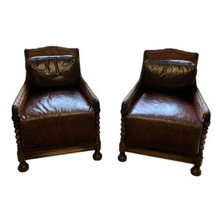 Jacob Alexander Benchmade Leather Chairs - a Pair For Sale
