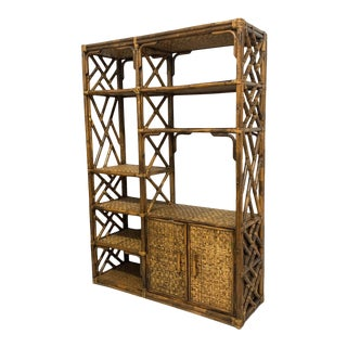 Rattan Chinoiserie Style Bookcase For Sale