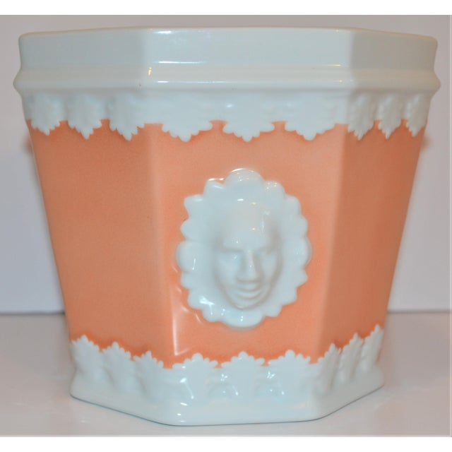 This is a beautiful vintage apricot and white porcelain Cachepot! This was produced by Vista Alegre specifically for...
