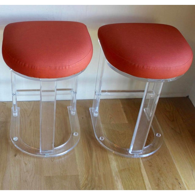 Textile Mid Century Vintage Lucite Hill Manufacturing Counter Bar Stools-Set of 2 For Sale - Image 7 of 8
