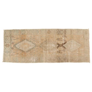 "Vintage Distressed Oushak Rug Runner - 3'9"" X 9'5"" For Sale"