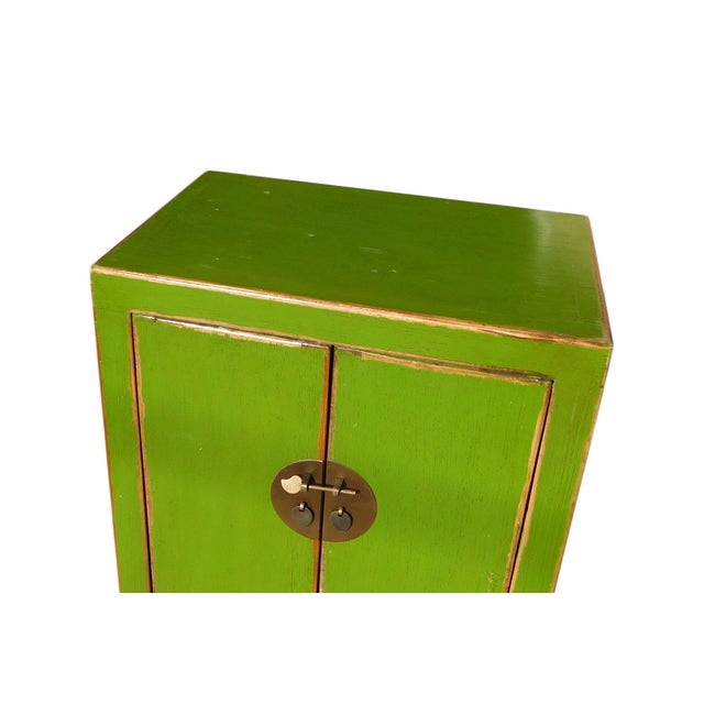 Chinese Rustic Lime Green End Table Nightstand For Sale - Image 4 of 6