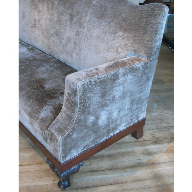 Empire Antique 19th Century Velvet Sofa For Sale - Image 3 of 9