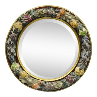 Round Beveled Glass Fruit Harvest Decorated Wall Mirror For Sale