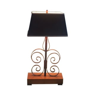 Vintage Spanish Revival Iron Swirl Table Lamp For Sale