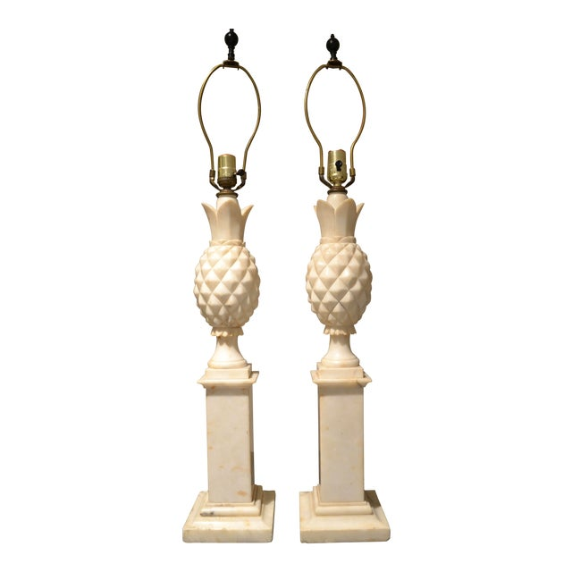 1950s Italian Alabaster Pineapple Lamps - a Pair For Sale