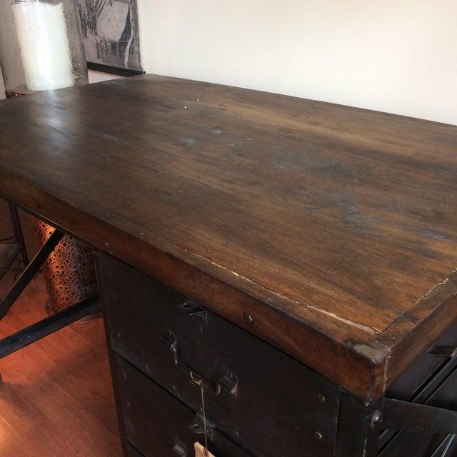 Metal and Wood Industrial Desk - Image 4 of 7