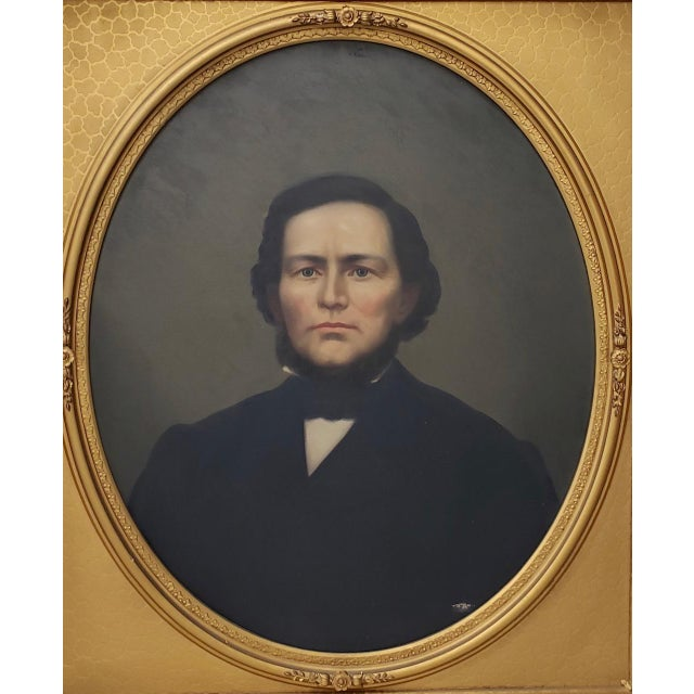 Mid 19th Century American Male Oil Portrait This is a fine oil portrait of a handsome young American man from the first...
