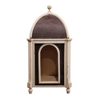 Carved Hand-Painted & Leather French Dog House With Dome Top For Sale