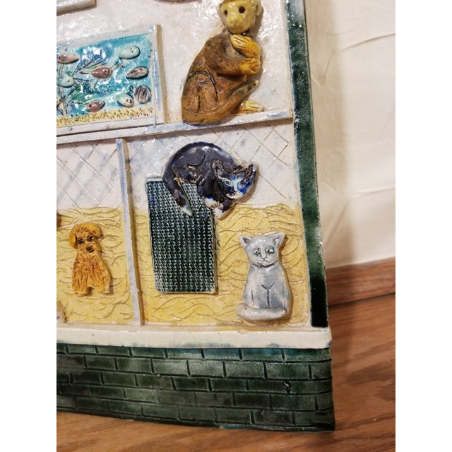 Folk Art Ceramic Pet Store Theme Wall Plaque For Sale - Image 3 of 12