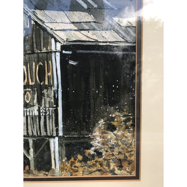 Original Watercolor Painting of a Southern Tobacco Barn With Barn-Side Advertisement For Sale - Image 4 of 6