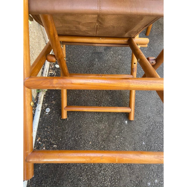 Vintage Set of 4 Leather Safari Chairs For Sale In Los Angeles - Image 6 of 13