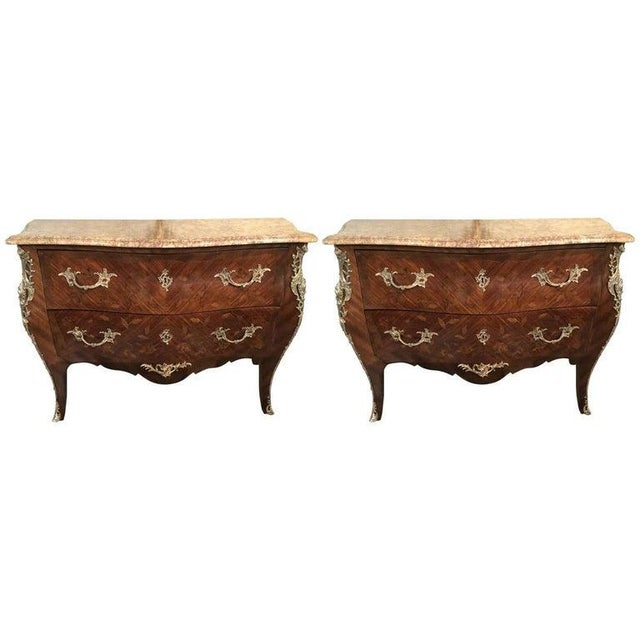 Pair of Louis XV Style Bombe Bronze Mounted Commodes, Nightstands or Chests For Sale - Image 13 of 13