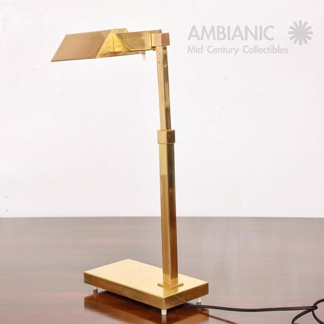 1970s Mid-Century Modern Brass Table Desk Lamp For Sale - Image 5 of 9