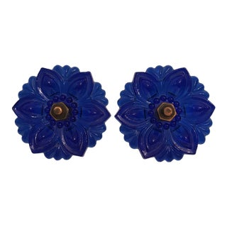 Blue Pressed Glass Victorian Tie Backs - A Pair For Sale