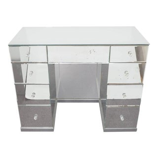 Hollywood Regency Mirrored Art Deco Desk For Sale