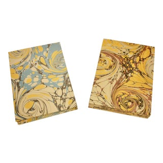 Coptic Binding Marbled Paper Notebooks - a Pair For Sale