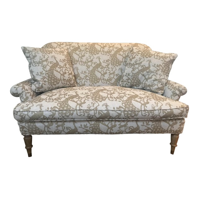 Traditional Lee Industries Taupe Peacock Print Loveseat For Sale