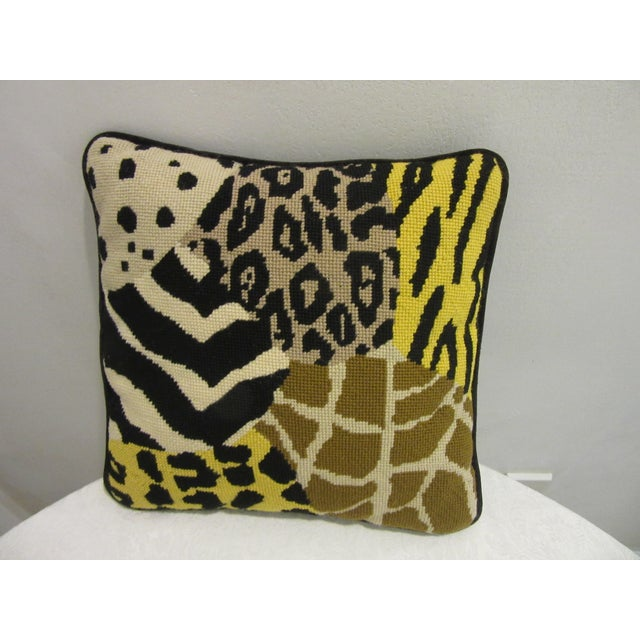 1970s 1970's Safari Motif Hand Stitched Needlepoint Pillows - a Pair For Sale - Image 5 of 6