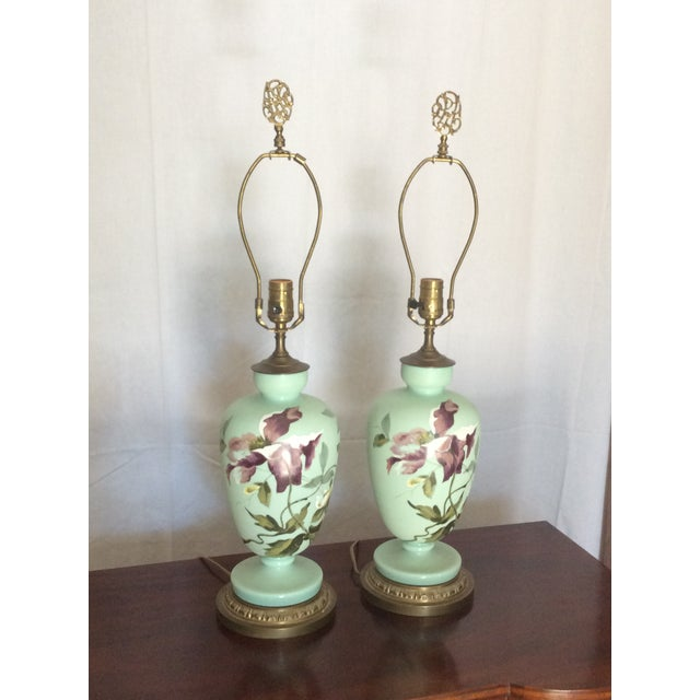 1930s Hand Painted Porcelain Lamps - a Pair For Sale - Image 10 of 12