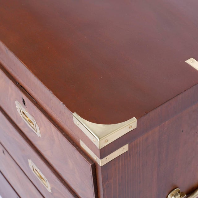 Mid 19th Century Antique Campaign Style Chest of Drawers or Dresser For Sale - Image 5 of 11