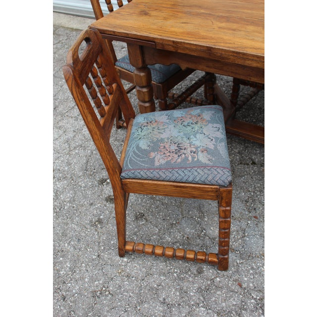 Mid-Century Rustic Solid Wood Table & 4 Chairs - Dining Set - Image 3 of 6