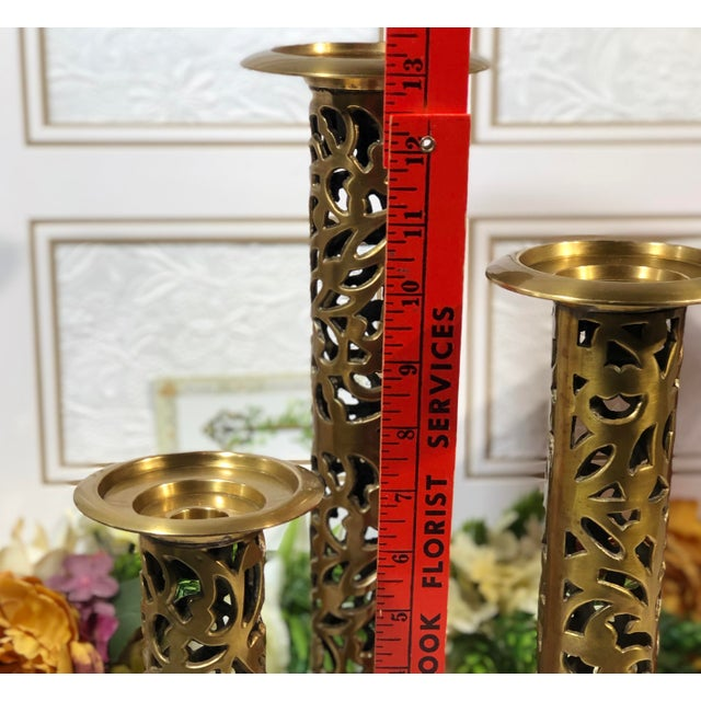 "Vintage Brass Heavy Candle Holders ""Filigree"" Tall Taper / Pillar Stand 3 - Set of 3 For Sale - Image 4 of 13"
