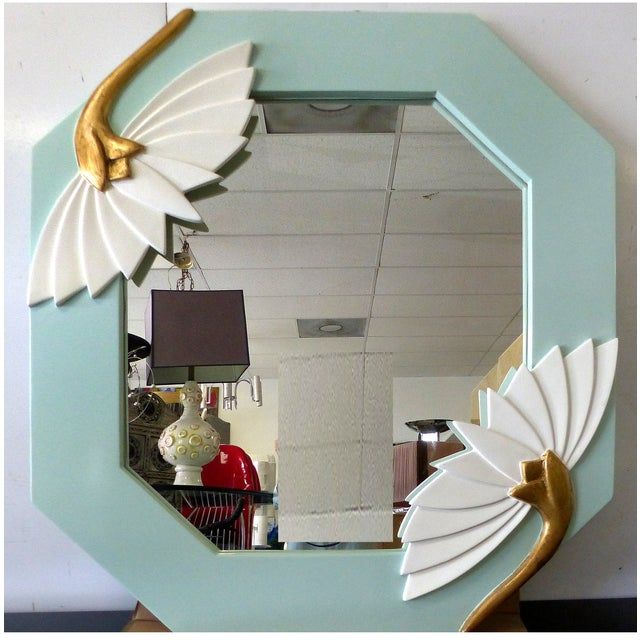 Carved Lotus Mirror with Gilt Accents - Image 2 of 5
