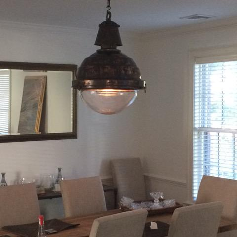 Mid-Century Modern Large Scale Copper and Glass Globe Ball Light For Sale - Image 3 of 5