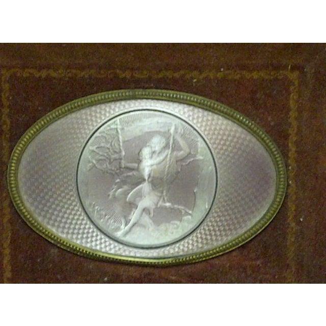 "Traditional Vintage ""Swinging on a Swing"" Framed Enamel For Sale - Image 3 of 6"