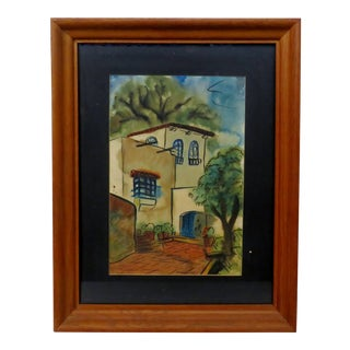 Vintage San Miguel Allende Watercolor Painting For Sale