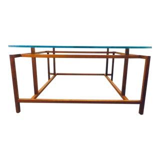 Mid Century Danish Modern Teak Framed Floating Glass Top Coffee Table Hemming Norgaard for Komfort For Sale