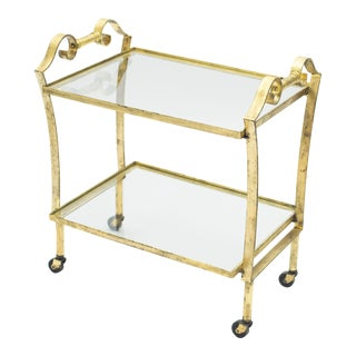 French Neoclassical Maison Ramsay Gilded Iron Bar Cart 1940s For Sale