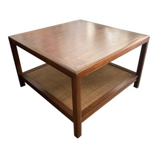 Mid-Century Two Tier Rattan Cane Coffee Table For Sale