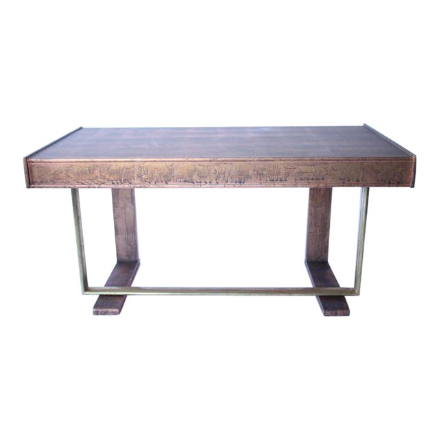 d034dfe88b74 Incredible Patinated Copper Painted Mid-Century Desk