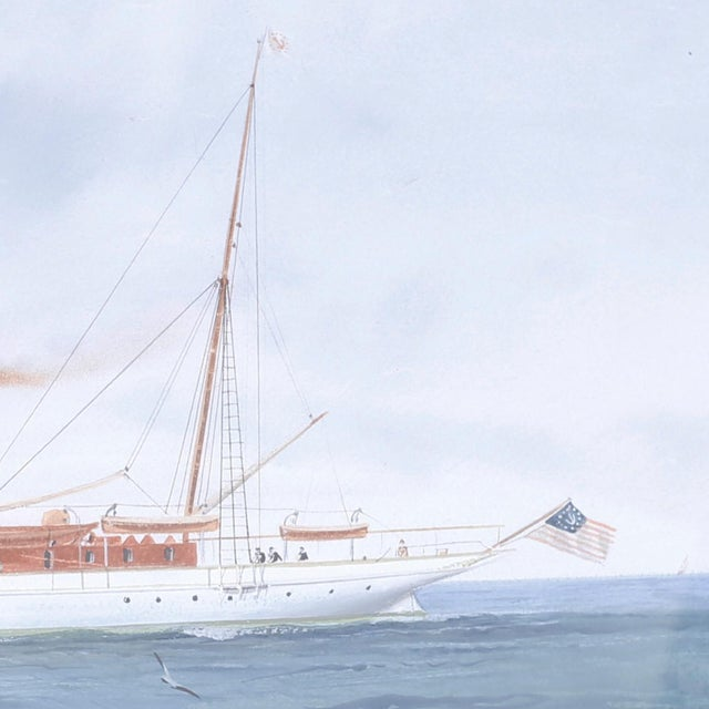 Gouache Painting on Paper of a Yacht For Sale - Image 4 of 8
