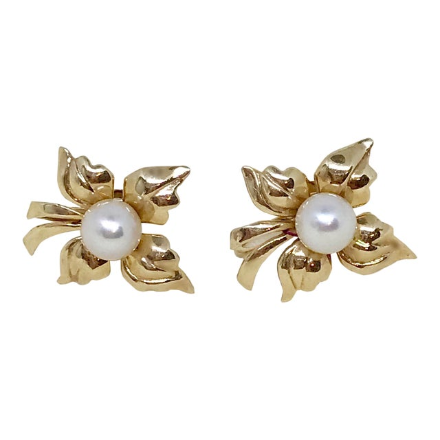 1950s Vintage 14k Gold and Cultured Pearl Screw Back Earrings For Sale