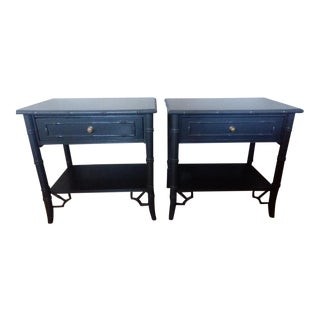 Thomasville Faux Bamboo Gray Nightstands - A Pair