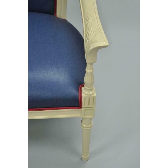 Textile Cream Lacquered Chinoiserie Blue Barrel Back Lounge Club Arm Chairs - A Pair For Sale - Image 7 of 10