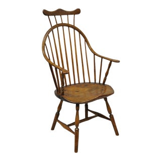 Antique American Colonial Bow Back Windsor Oak & Pine Armchair For Sale