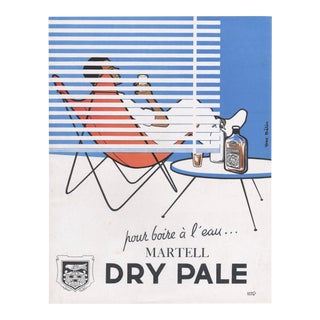 Matted 1955 Vintage Mid-Century Bar Print-Cognac For Sale