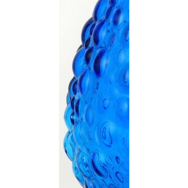 Pair Bubble Textured Blue Glass Table Lamps With Brass Accents - Image 8 of 8