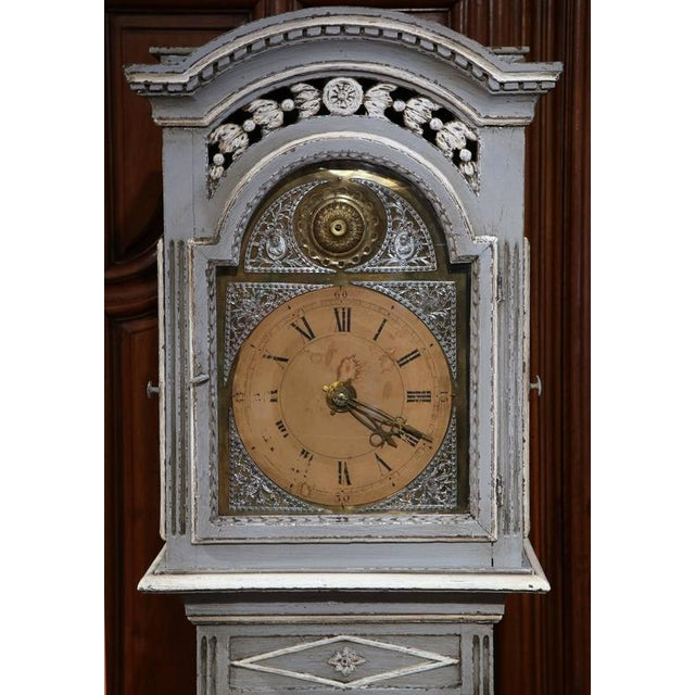 Late 18th Century French Carved Painted Grandfather Clock - Image 3 of 9