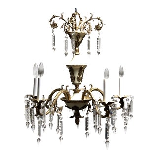 Mid 20th Century Empire Tole Style Brass Crystal 5-Arm Chandelier For Sale