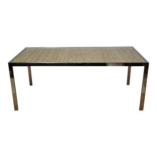 Chrome & Rattan Dining Table