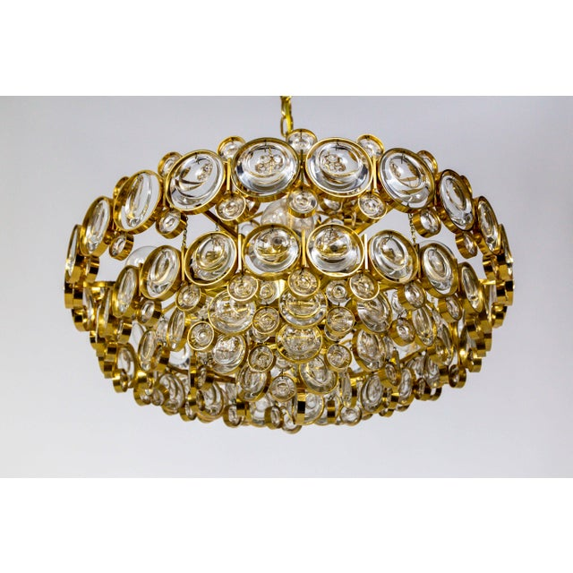 Palwa Circular Gilt Brass & Optical Lens Crystal Multi Tier Chandelier by Palwa For Sale - Image 4 of 13