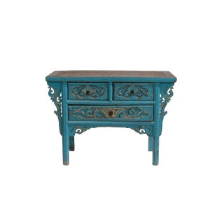 19th Century Antique Blue Shandong Carved Cabinet For Sale