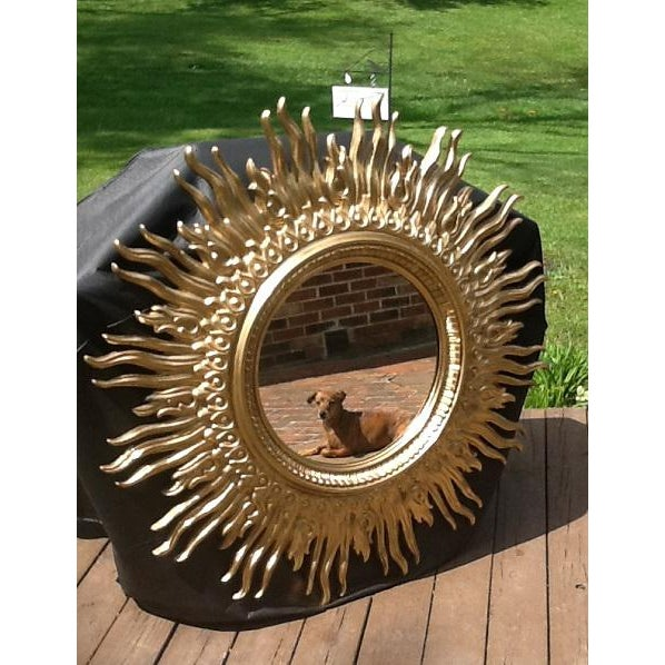 Syroco Vintage Gold Sunburst Wall Mirror For Sale - Image 4 of 6