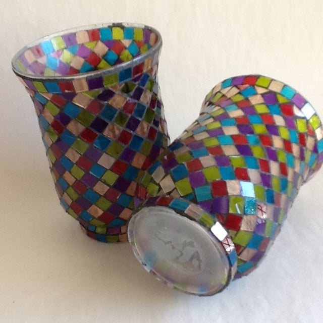 Moroccan Mosaic Glass Candle Votives - A Pair - Image 6 of 8
